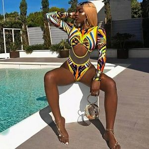 High Cut African Print Sexy Swimsuit